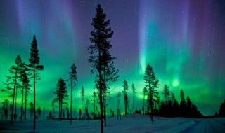 A view of the night sky lit up by the colorful lights of the Aurora Borealis.