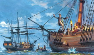 American colonists throwing boxes of tea off a British ship and into the sea.