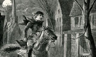 Paul Revere on his horse, making his historic midnight ride to warn the countryside that the British are coming.