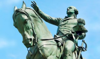 A statue of George Washington riding a horse.