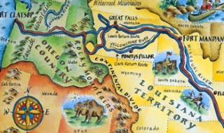 A map that shows the trail Lewis and Clark followed through the Louisiana Territory and into Oregon.