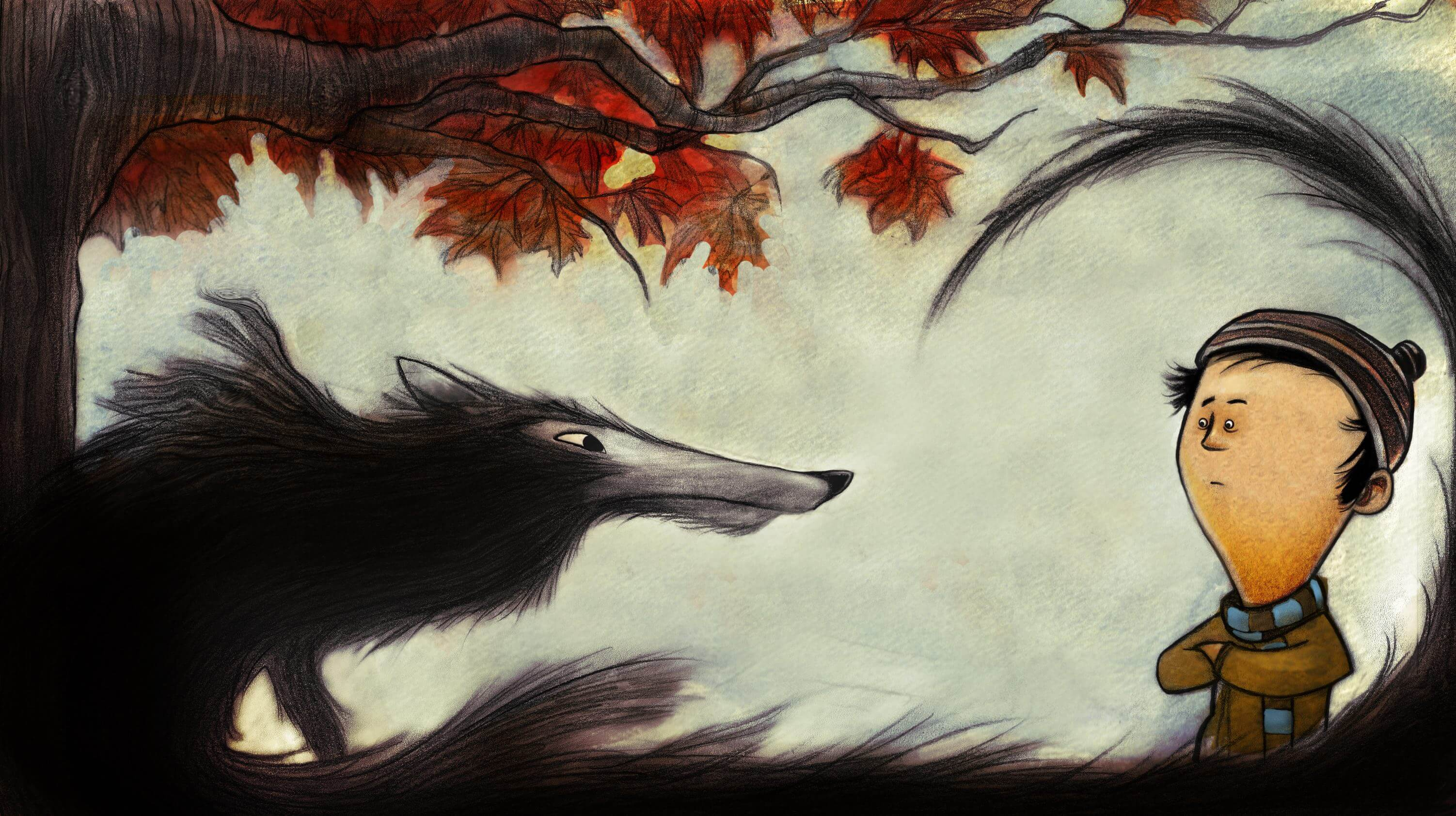 Storybook illustration of a boy and a wolf