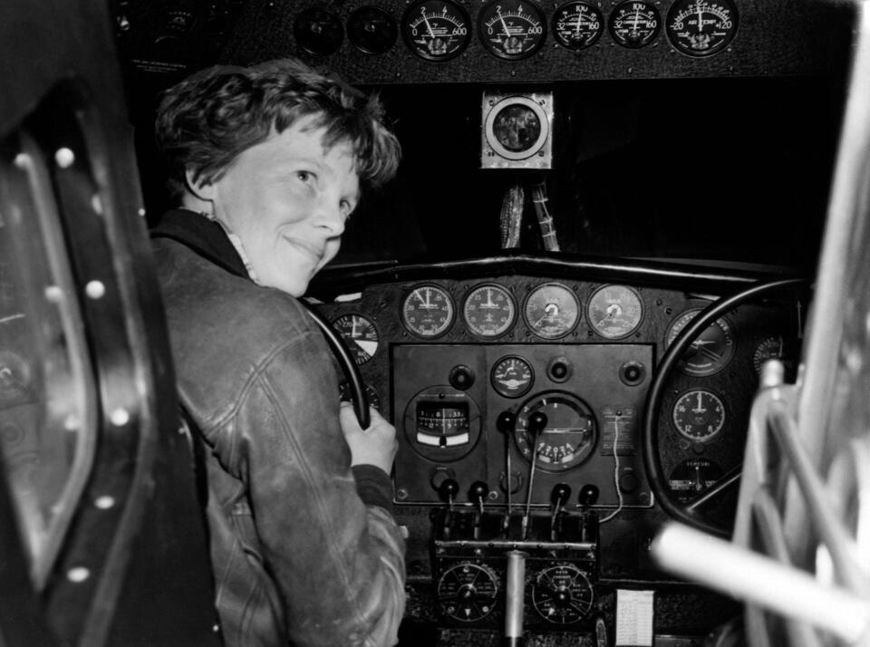 Amelia Earhart in a plane
