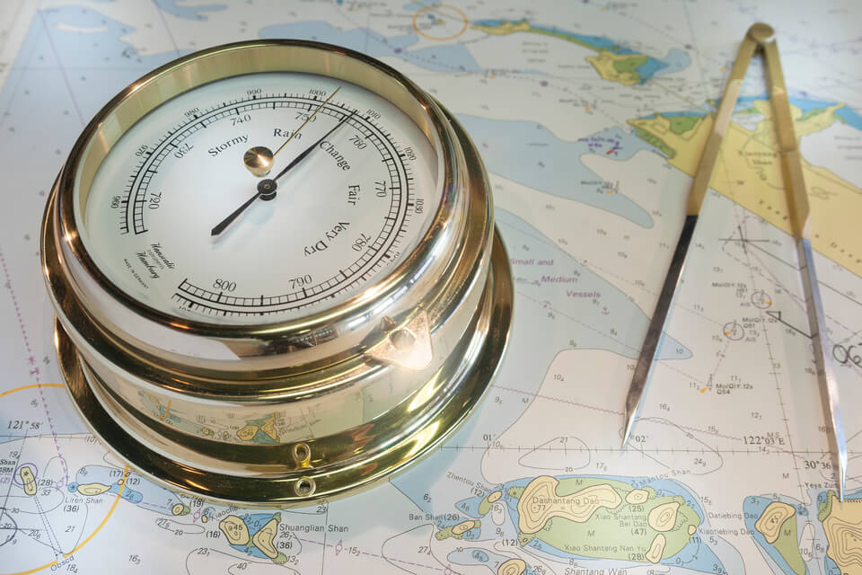 Navigational equipment. Composition with barometer, compass, navigational map.