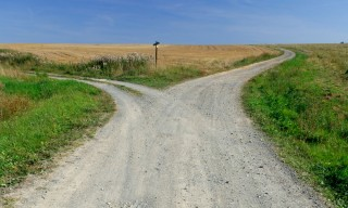 Country road diverges, Bavaria, Germany
