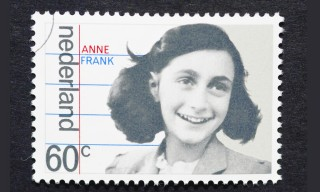 postage stamp printed in Netherlands showing an image of Anne Frank, circa 1980