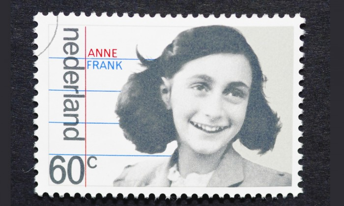 1980s postage stamp from the Netherlands, honoring Ann Frank's memory.
