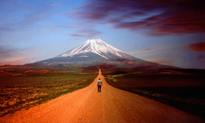 Man Walking Towards Mt. Fuji