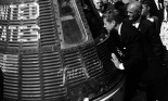 President John F. Kennedy inspects interior of 'Friendship 7' in Cape Canaveral, FL, 1962