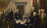 Painting depicting the five-man drafting committee of the Declaration of Independence presenting their work to the Congress