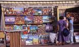 Pavement stall selling paintings, St John's, Antigua