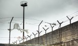 Prison wall with fence and tower