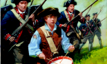 Drummer boy marching with soldiers in the American Revolution