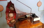 Early phonograph invented by Thomas Alva Edison is on display in a museum in his boyhood town of Port Huron, Michigan