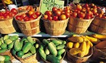 Baskets with fresh produce at farmer's market, Bridgehampton, Long Island, N.Y.