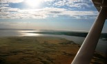 View from airplane of North Dakota river