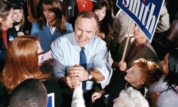American politician meeting supporters at a political rally