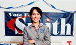 Candidate standing in her election campaign office