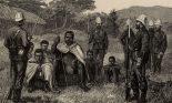 Engraving of Cetawayo, king of Zulu under British guard