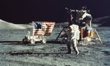 Astronaut and Lunar Module on the Moon