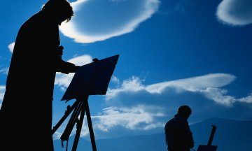 Silhouette of Painters Painting