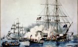 """American privateer """"General Armstrong"""" firing on British boats sent from HBM Carnation to capture her"""