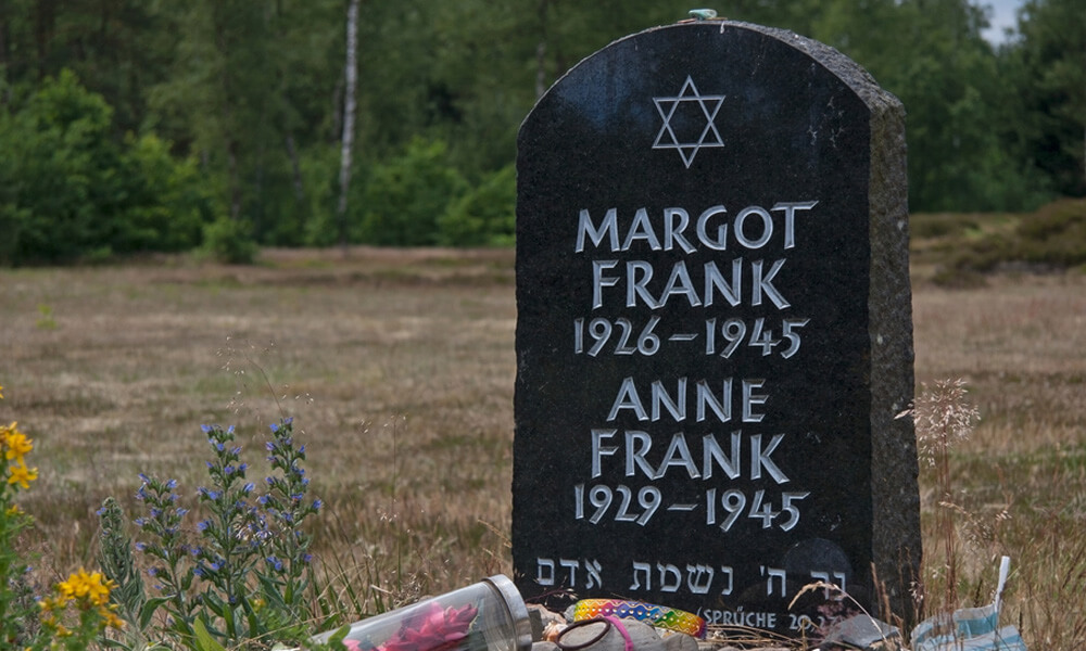 Symbolic gravestone of Anne and Margot Frank at the Bergen-Belsen memorial in Lohheide, Germany