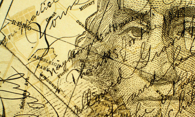 Drawing of George Washington superimposed on a map