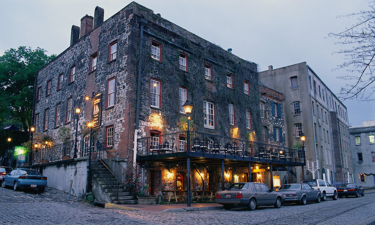 A cobblestone street in Savannah, Georgia, where's Sherman's March to the Sea concluded in 1864.