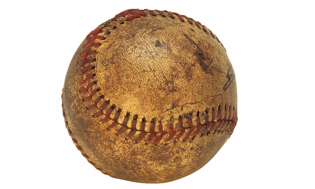 Aged and weathered baseball