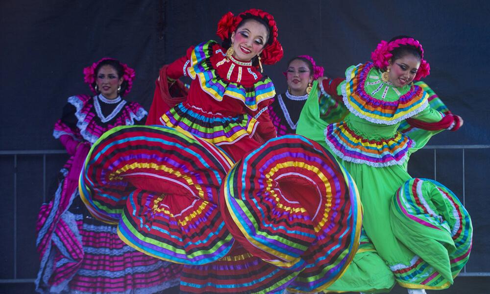 Dancers participate in a cultural festival
