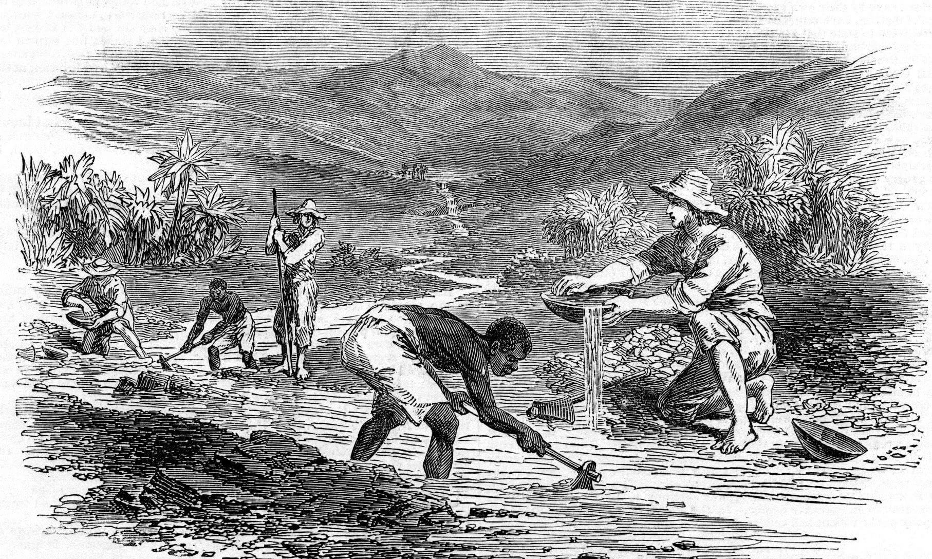 Prospectors and slaves panning for gold in river
