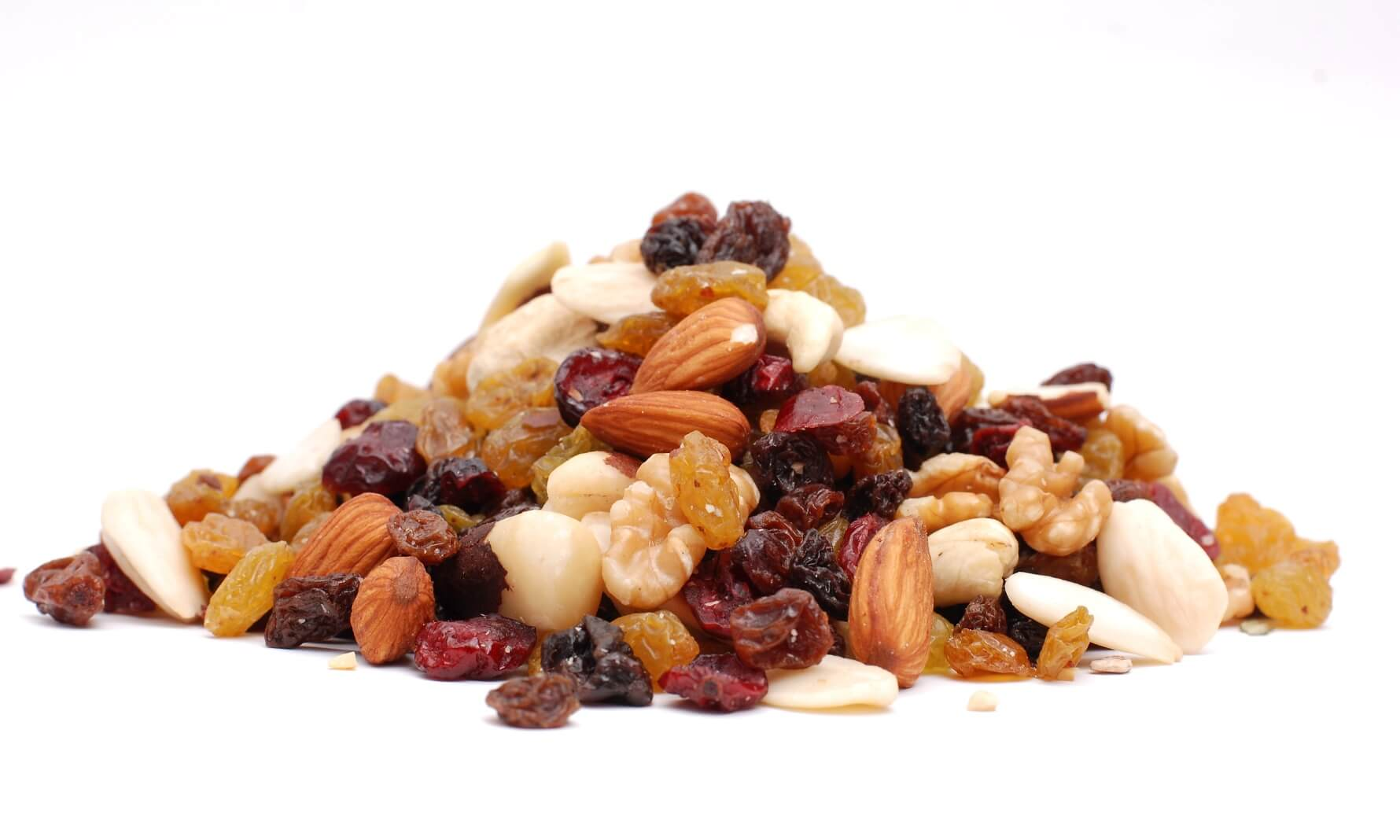 Mix of nuts and dried fruit in a pile