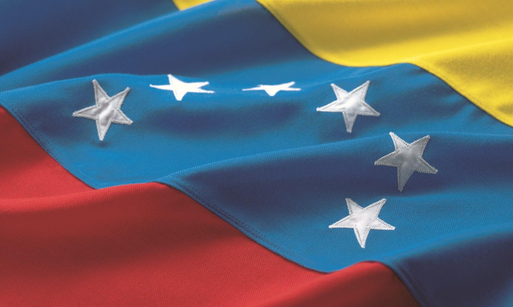 Close-up on a draped Venezuelan flag