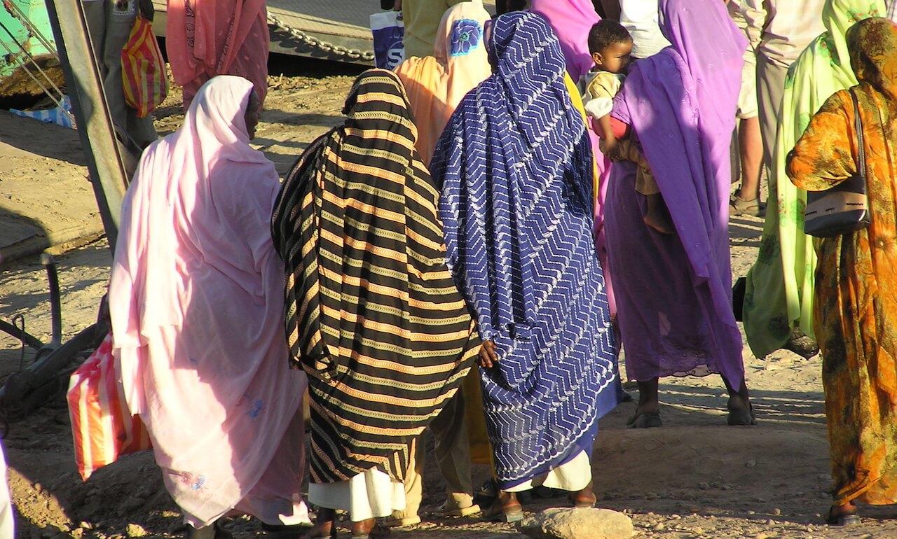 Women of Sudan walking