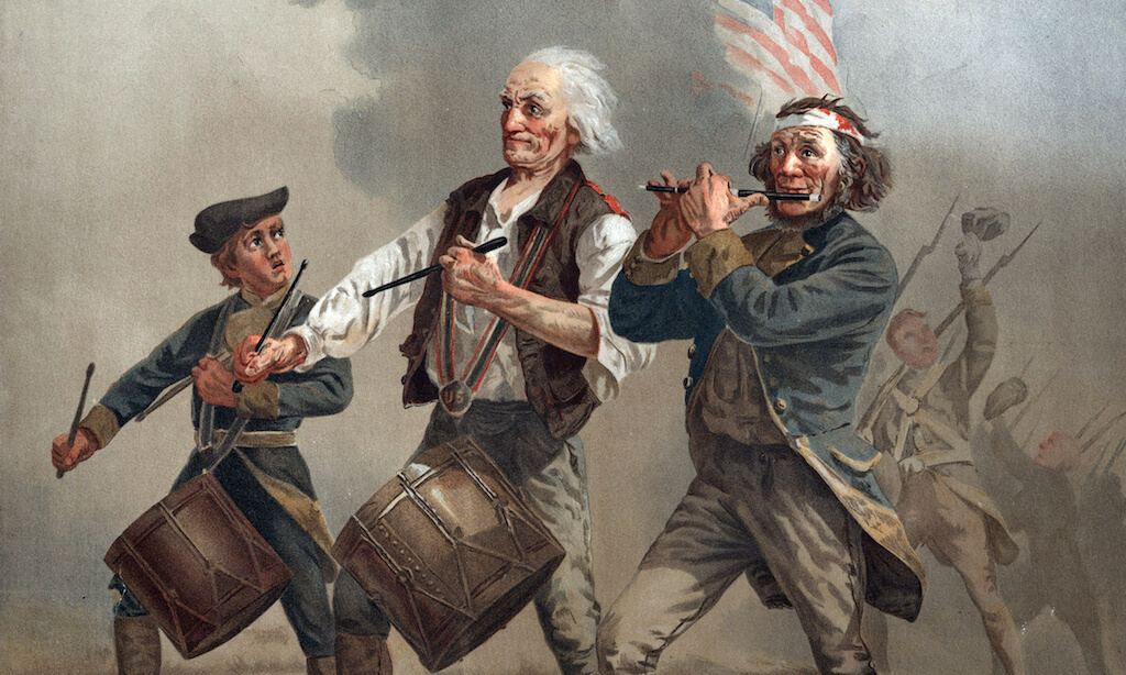 The American Revolution, Yankee Doodle 1776, three patriots, two playing drums and one playing a fife, leading troops into battle, by Archibald M. Willard, ca. 1876