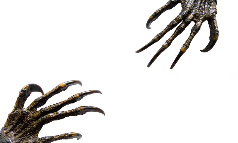 Creepy monster hands with long fingernails