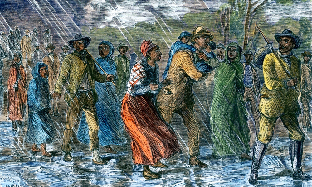 Fugitive slaves fleeing from Eastern Maryland to an Underground Railroad depot in Delaware Ca. 1863.
