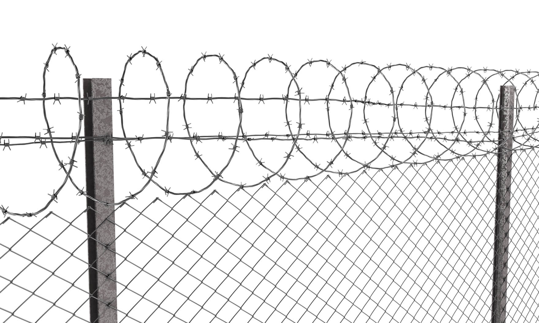Chainlink fence with barbed wire on top, isolated on white background