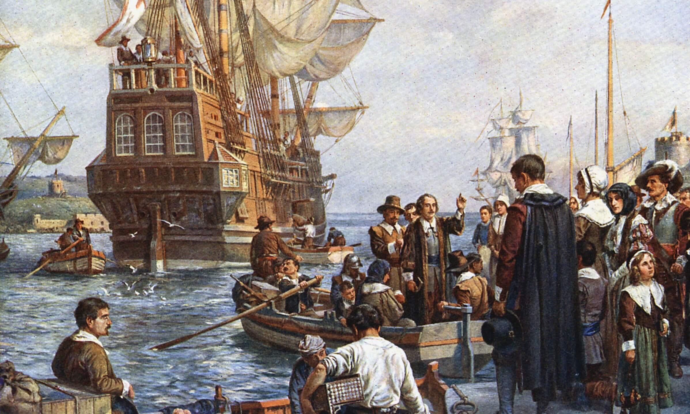 Pilgrims departing on Mayflower