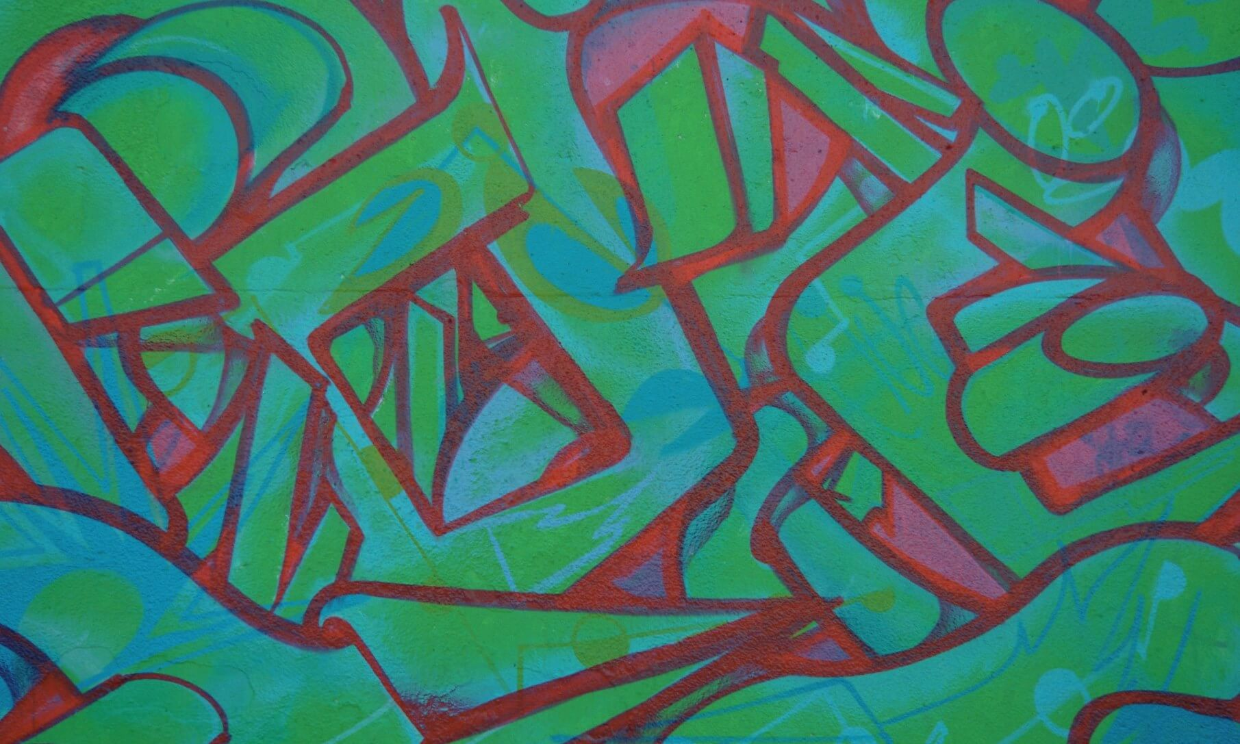 Graffiti Painting of Abstract Letter Shapes