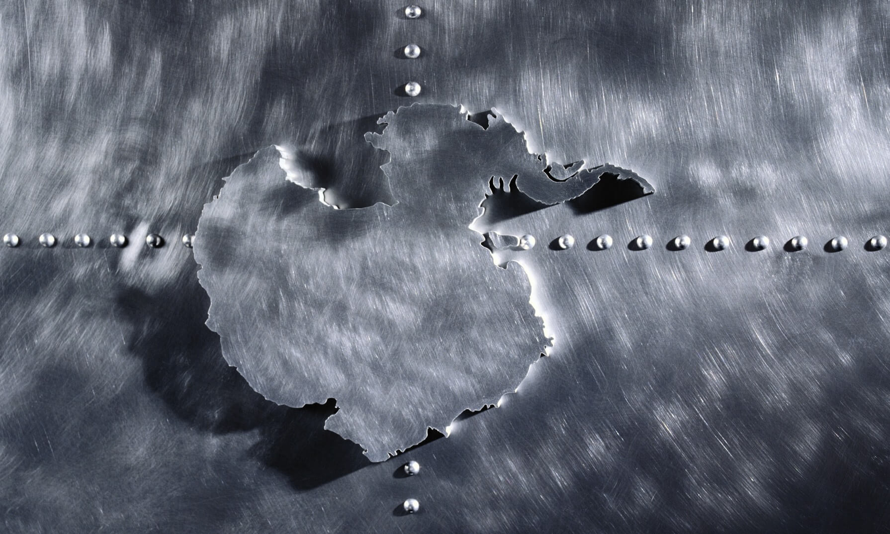 Brushed Metal Map of Antarctica