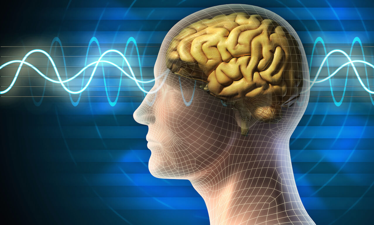 Digital illustration of the human head and brain; different kinds of waveforms produced by brain activity shown on background