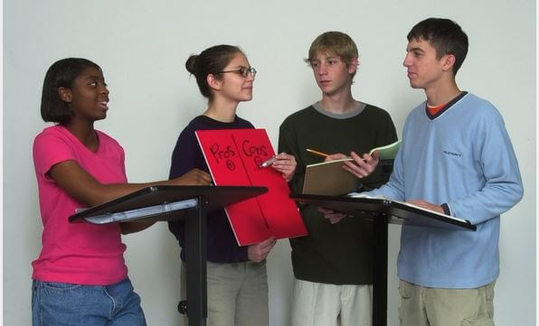 A group of students in a speaking competition