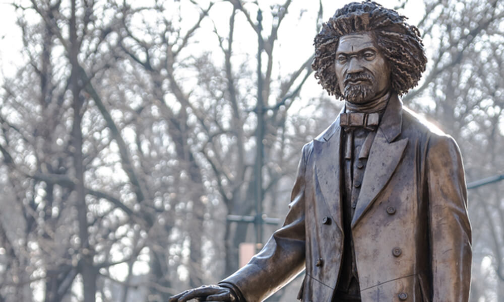 Frederick Douglass statue in Harlem, New York