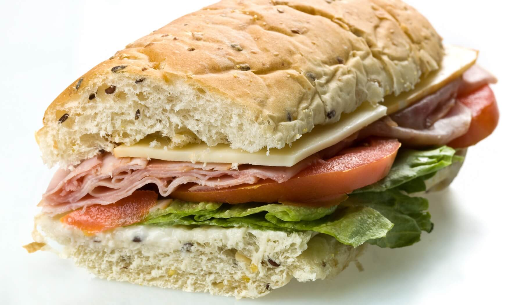 Half ham and cheese submarine sandwich