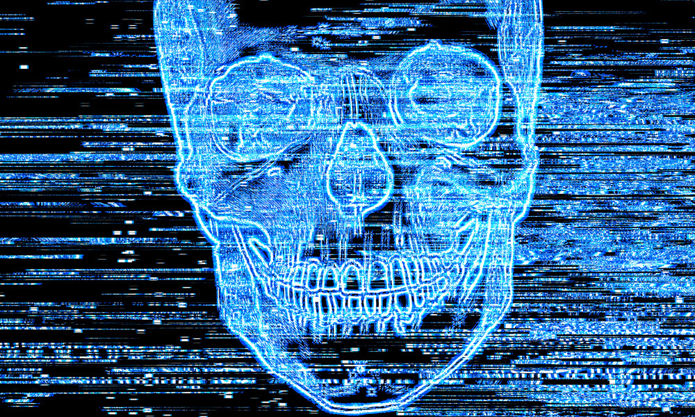 Scary blue skull on television screen, with static across the screen