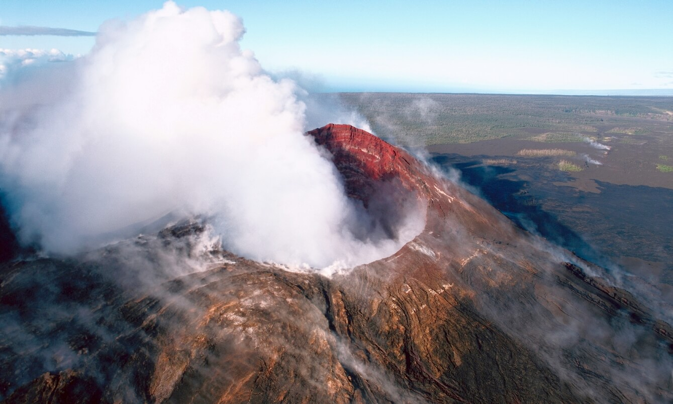Steam rising from a volcanic crater