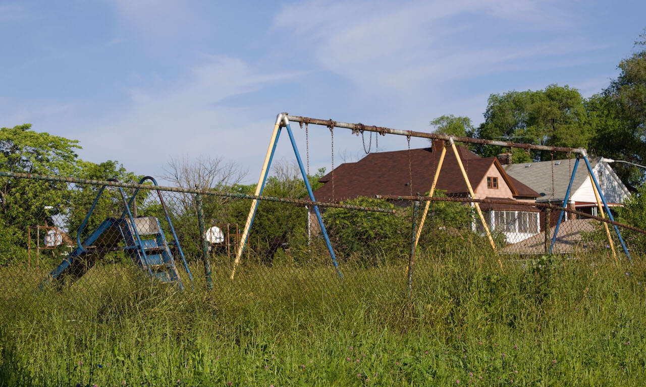 Abandoned playground, northwest side of Detroit, Michigan
