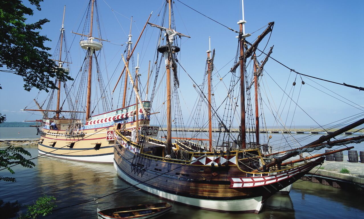 Jamestown Settlement with ships